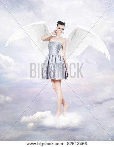 Beautiful Brunette Woman As Angel In Heaven