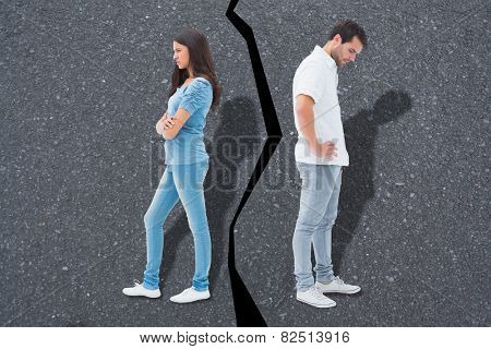 Upset couple not talking to each other after fight against road