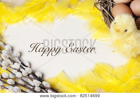 Easter Background  - Eggs In Nest And Baby Chicken