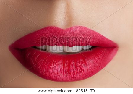 Red lips .Classic red lips. Stylish red lipstick.