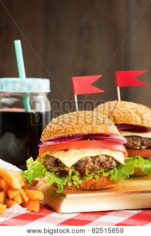 Tasty burgers with flags