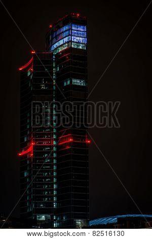 MILAN, ITALY, FEBRUARY 12 2015: new Regione Lombardia skyscraper, night scene