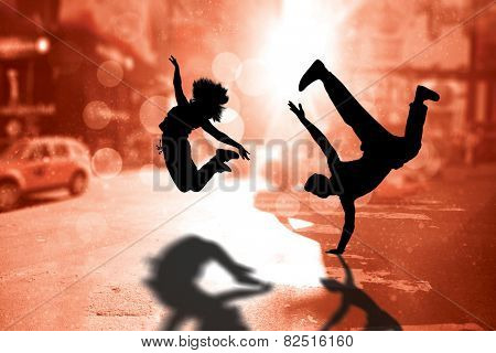 Cool break dancer against blurry new york street