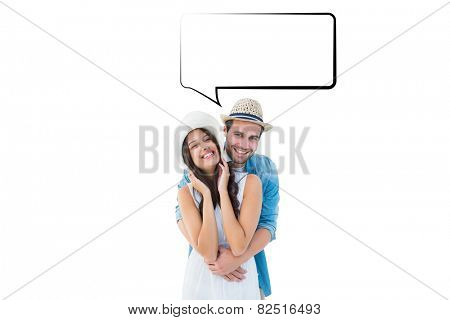 Happy hipster couple smiling at camera against speech bubble