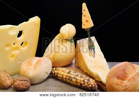 Selection Of Cheese With Autumnal Elements