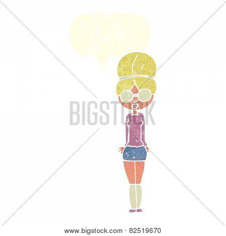 cartoon librarian woman with speech bubble