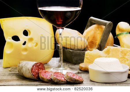 Salami, Dairy Products And Red Wine