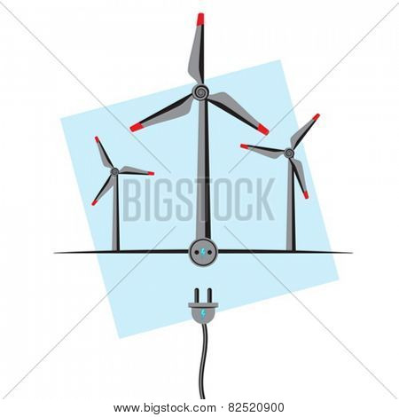Wind Turbines with plug-in socket and wire. Wind Energy concept
