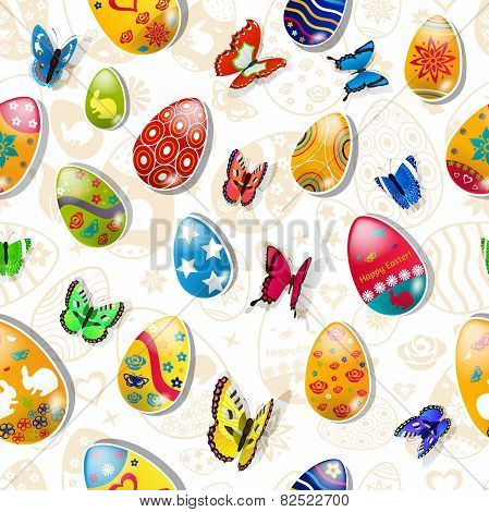 Seamless Pattern Of Easter Eggs And Butterflies