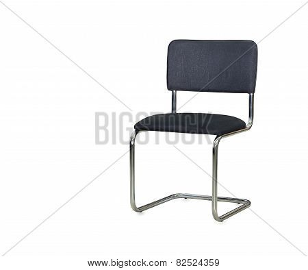 The Black Cloth Office Chair Isolated Over White