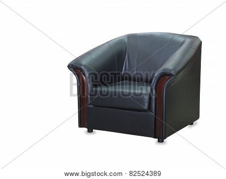 Modern Black Leather Chair Isolated On White Background