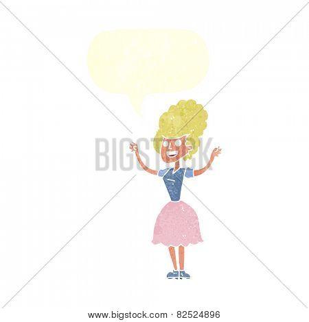 cartoon happy 1950's woman with speech bubble