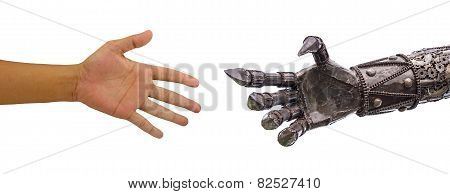 Man Hand  Handshake With Cy-ber Robot Isolated On White Background