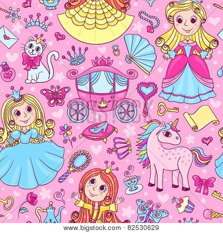 Seamless Pattern With Three Cute Little Princesses