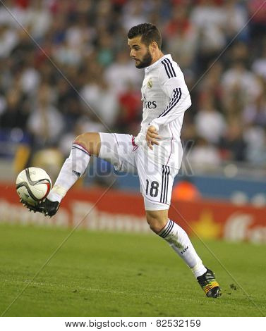 BARCELONA - OCT, 29: Nacho Fern�¡ndez Iglesias of Real Madrid during the Spanish League match between Espanyol and Real Madrid at the Estadi Cornell on October 29, 2014 in Barcelona, Spain