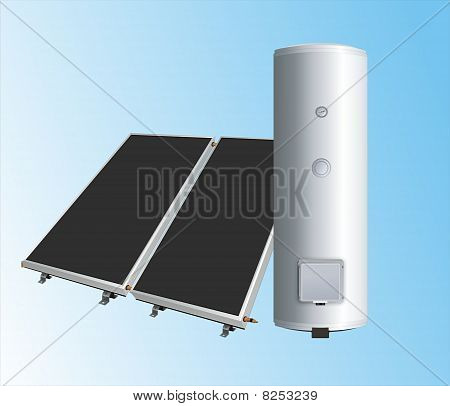 solar panels to the boiler for heating water.eps
