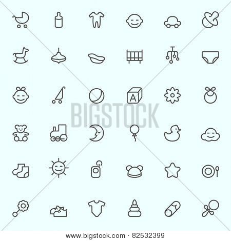 Baby icons, simple and thin line design