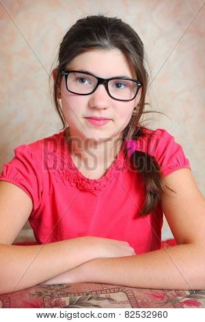 Beautiful Preteen Girl In Correction Glasses