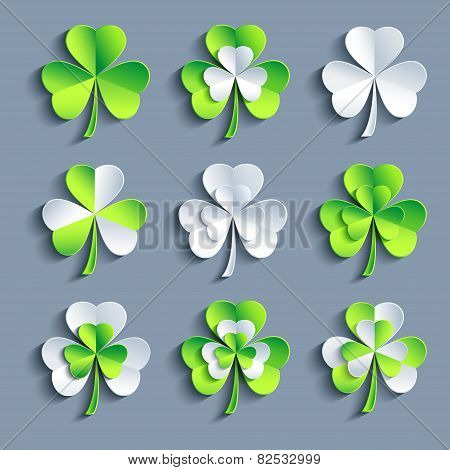 Set Of Stylized 3D Patricks Leaf Clover