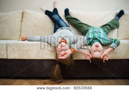 boy and girl fool upside down