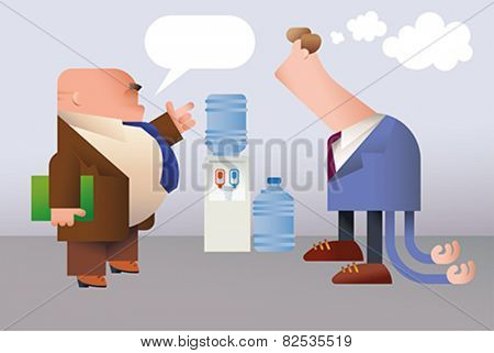 Funny office folks. The boss is giving directives to the awkward employee. Editable vector illustration.