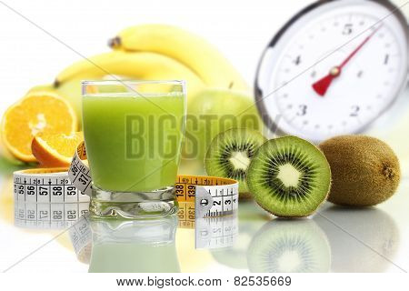 kiwi juice in glass fruit meter scales diet food