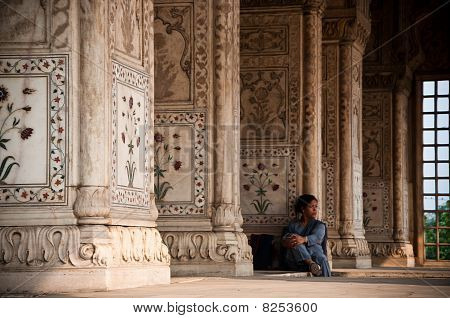 Solitary Indian Woman In A Temple.
