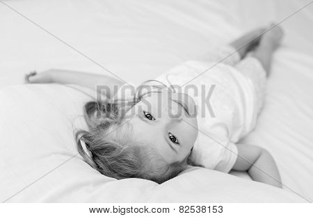 Adorable Smiling Little Girl Waked