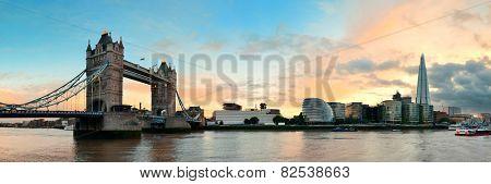 Tower Bridge panorama over Thames River in London