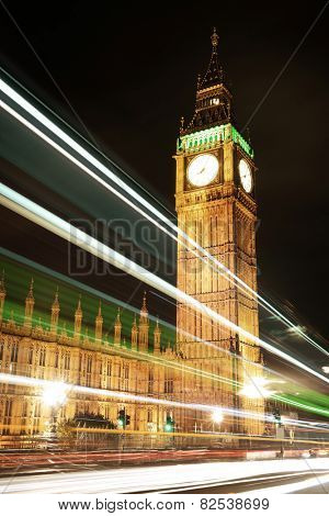 House of Parliament at night, London.