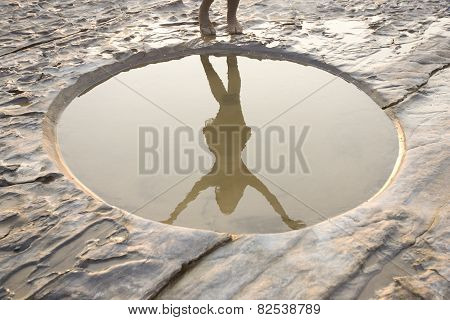 Beautiful Calm Landscape. Graphic Minimalism, Circle Hole And Beautiful Woman Danceing Silhouette. S