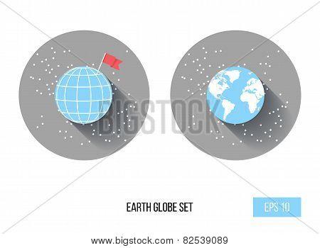 Planet Earth Icon Set , Vector Illustration