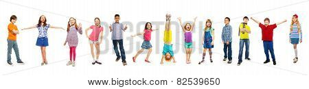Combination of boys and girls isolated on white