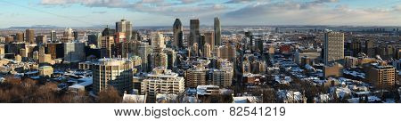 Panorama of downtown Montreal during winter from the mont royal mountain.