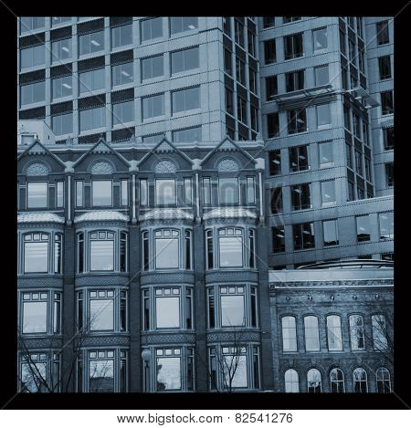 View of different facades of buildings in blue tone.  Instagram style picture.