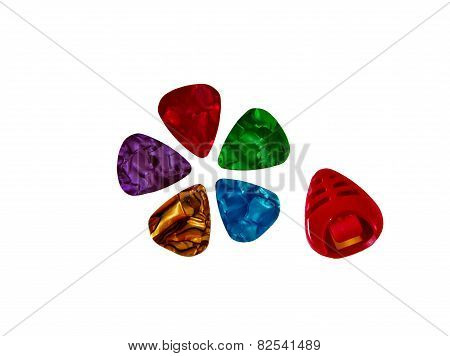 Set of colorful plectrums and plectrum holder