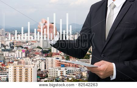 Businessman Standing Posture Hand Hold A Pen