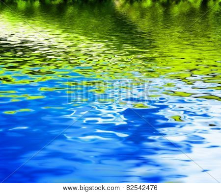 Reflection of green nature in clean water waves. Background