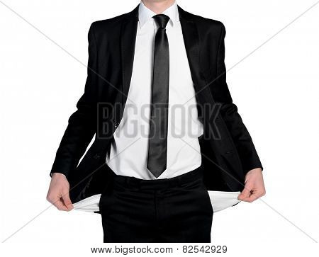 Isolated business man with empty pockets