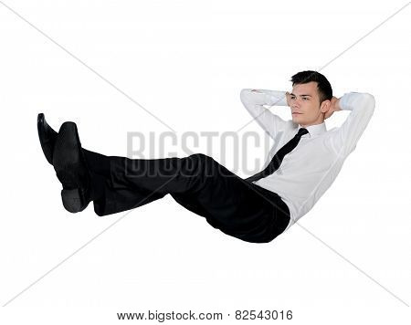 Isolated business man relaxing position
