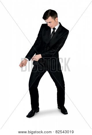 Isolated business man pull something