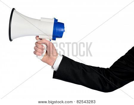 Isolated business man hand with loudspeaker