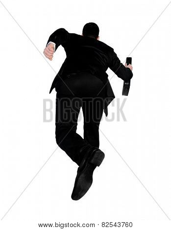 Isolated business man running away