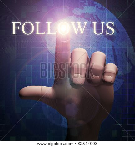 3D Finger Touching Follow Us Illustration