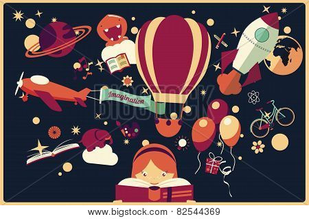 Imagination Concept - Girl Reading A Book With Air Balloon, Rocket And Airplane Flying Out