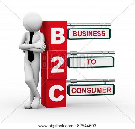 3D Businessman With B2C Signpost Illustration