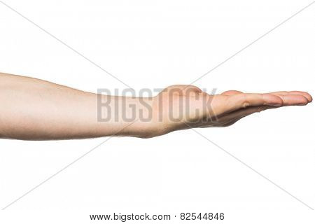 Closeup of empty open hand. Isolated on white background.