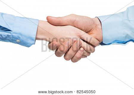 Shaking hands of businessman and businesswoman, isolated on white background