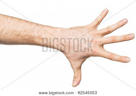 Counting gesture, male hand showing five fingers, isolated on white background