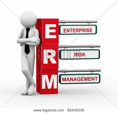 3D Businessman With Erm Signpost Illustration